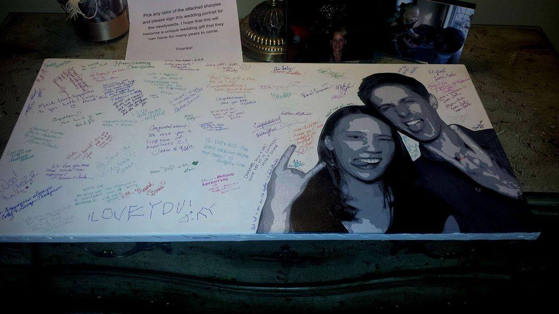 """Will and Val- Wedding Portrait Guest Book, 15"""" x 30"""""""